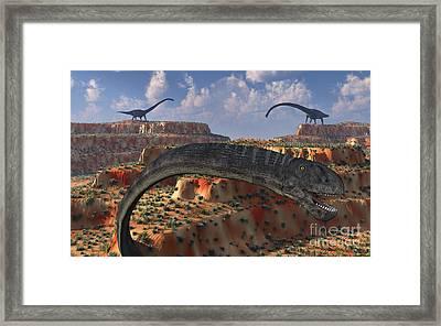 Omeisaurus Sauropod Dinosaurs Framed Print by Mark Stevenson