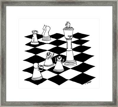 On A Chessboard Framed Print by Edward Steed