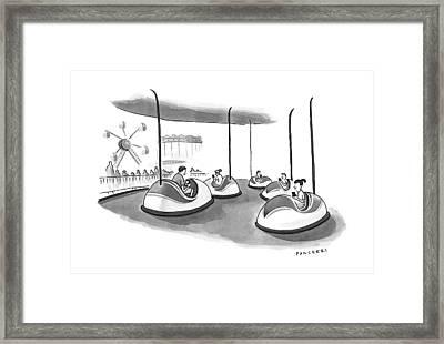 On Bumper Cars Framed Print by Drew Panckeri