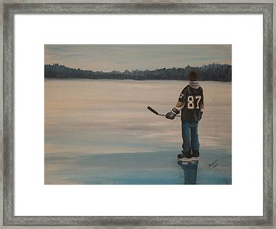 On Frozen Pond - The Kid Framed Print by Ron  Genest