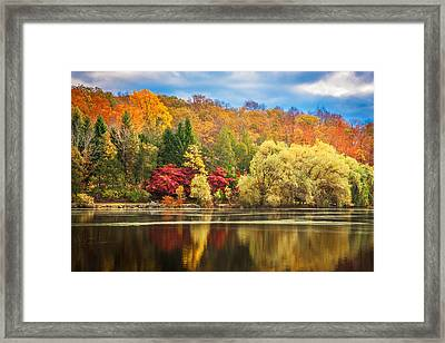 On Golden Pond Fall Foliage Painted    Framed Print by Rich Franco