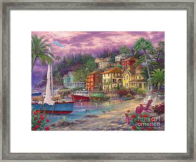 On Golden Shores Framed Print by Chuck Pinson