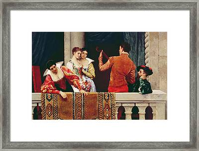 On The Balcony Framed Print by Eugen von Blaas