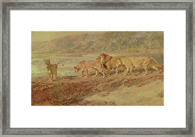 On The Bank Of An African River Framed Print by Briton Riviere