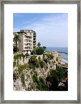 On The Cliff In Monaco Framed Print by Julie Palencia