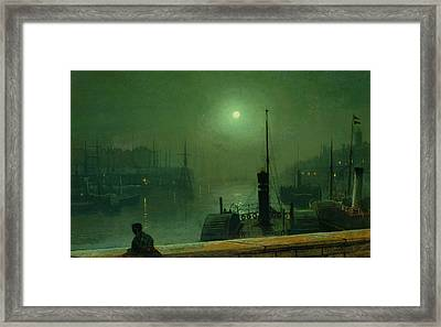 On The Clyde, Glasgow, 1879 Framed Print by John Atkinson Grimshaw
