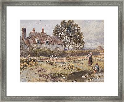 On The Common Hambledon Surrey Framed Print by Myles Birket Foster