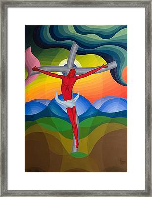 On The Cross Framed Print by Emil Parrag