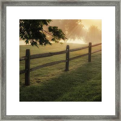On The Fence Square Framed Print by Bill Wakeley