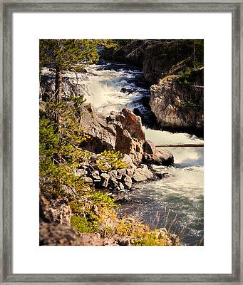 On The Firehole Framed Print by Marty Koch