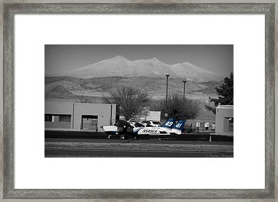 On The Flight Line Below The Volcano Framed Print by Aaron Burrows