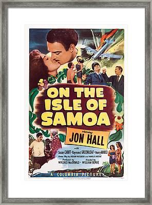 On The Isle Of Samoa, Us Lobbycard, Top Framed Print by Everett
