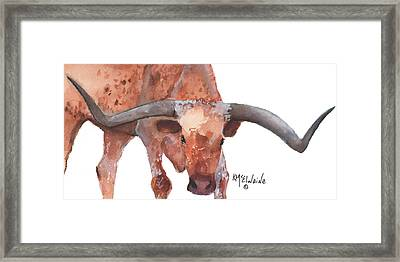 On The Level Texas Longhorn Watercolor Painting By Kmcelwaine Framed Print by Kathleen McElwaine