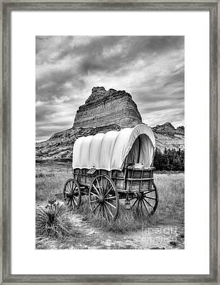 On The Oregon Trail 3 Bw Framed Print by Mel Steinhauer