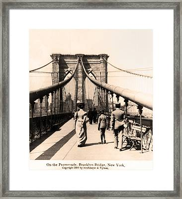 On The Promenade Brooklyn Bridge 1899 Framed Print by Digital Reproductions