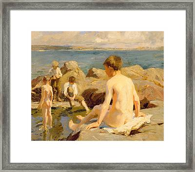 On The Rocks Near Newlyn Framed Print by Harold Harvey