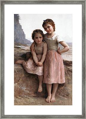 On The Rocky Beach Framed Print by William Bouguereau