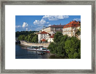 On The Shore Of Vltava. Prague Framed Print by Jenny Rainbow