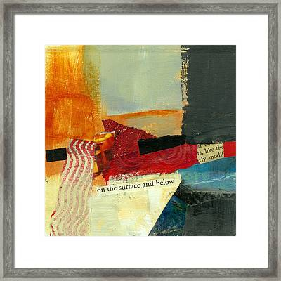 On The Surface And Below Framed Print by Jane Davies