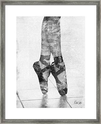 On Tippie Toes In Black And White Framed Print by Nikki Marie Smith