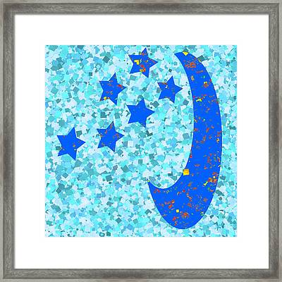 Once In A Blue Moon Also Got 5 Stars Signature Art  Navinjoshi Artist Created Images Textures Patter Framed Print by Navin Joshi