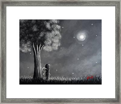 Once Upon A Dreamy Night Original Fairy Art Framed Print by Shawna Erback