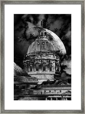 Once Upon A Time On A Warm Summers Night In San Francisco 5d22548 Black And White Framed Print by Wingsdomain Art and Photography