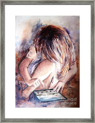 Once Upon An Ipad Framed Print by Leslie Franklin