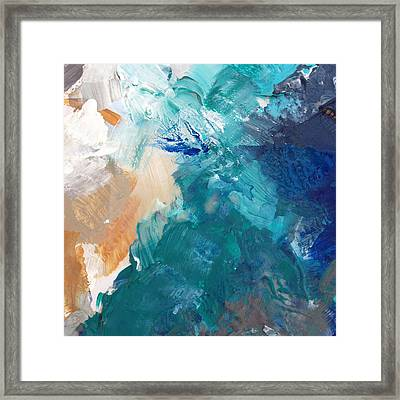 On A Summer Breeze- Contemporary Abstract Art Framed Print by Linda Woods