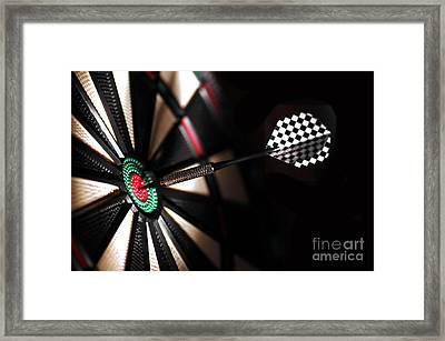 One Arrow In The Centre Of A Dart Board Framed Print by Michal Bednarek
