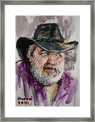 One Eyed Cowboy  Framed Print by Ylli Haruni