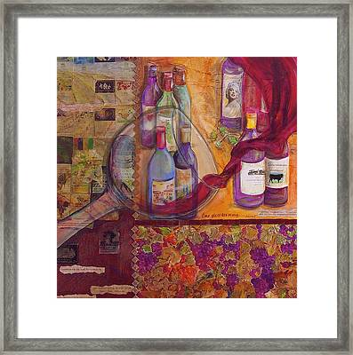 One Glass Too Many - Cabernet Framed Print by Debi Starr
