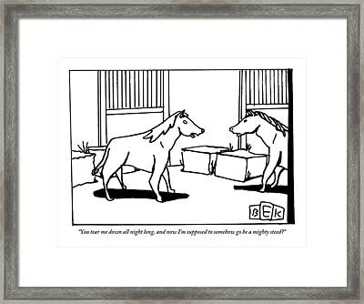 One Horse Talks To Another In A Stable Framed Print by Bruce Eric Kaplan