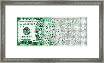 One Hundred Dollar Bill Turning Digital Framed Print by Panoramic Images