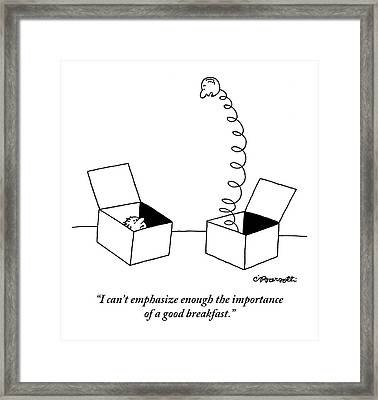 One Jack-in-the-box Addresses Another Framed Print by Charles Barsotti