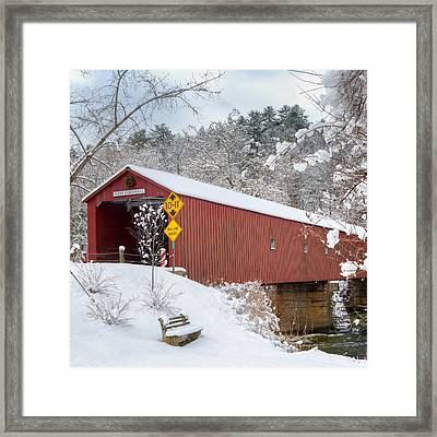 One Lane Bridge Square Framed Print by Bill Wakeley