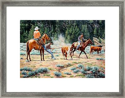 One Leg Catch Framed Print by Susan Branston