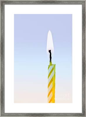 One Lit Candle Framed Print by Elena Elisseeva