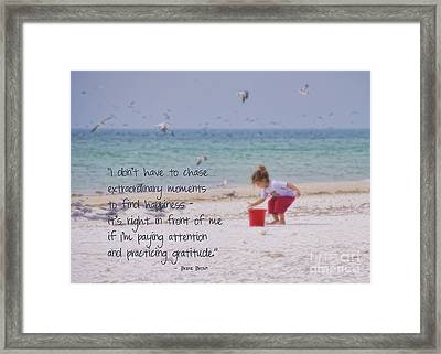 One Moment In Time Framed Print by Peggy Hughes