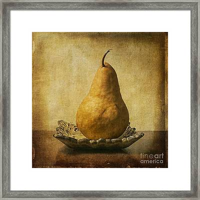 One Pear Meditation Framed Print by Terry Rowe