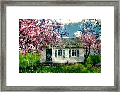 Raining On The Schoolhouse Framed Print by Diana Angstadt
