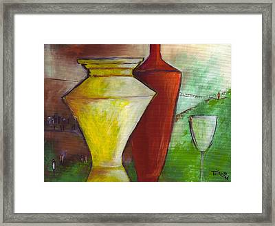 One Upon A Time Jars And Wine Framed Print by Mirko Gallery