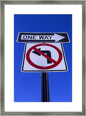 One Way Sign Framed Print by Garry Gay
