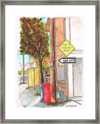 One Way Sign In A Street Of Venice Canals - California  Framed Print by Carlos G Groppa