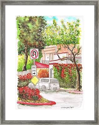 One Way Sign In San Vicente Blvd - West Hollywood - California Framed Print by Carlos G Groppa