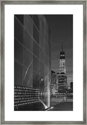 One World Trade Center At Dawn Bw Framed Print by Susan Candelario