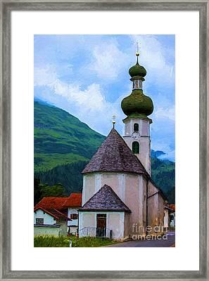 Onion Domed Church - Austria Mountain Village Framed Print by Gary Whitton
