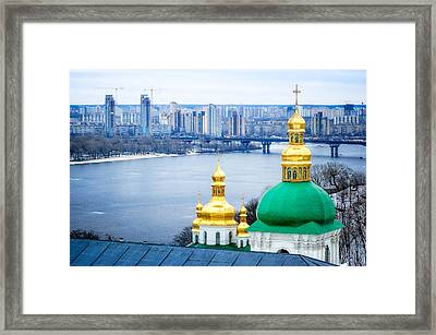 Onion Steeples Of Lavra Monastery In Kiev Framed Print by Alain De Maximy