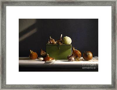 Onions And Garlic Framed Print by Larry Preston