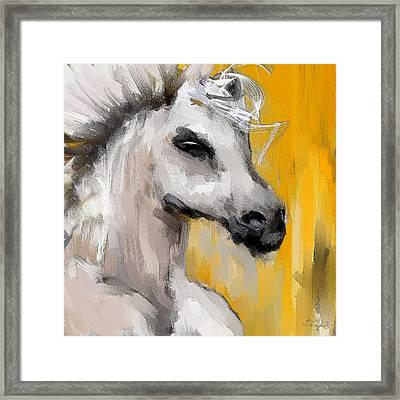 Only In His Eyes- Yellow And Gray Abstract Art Framed Print by Lourry Legarde